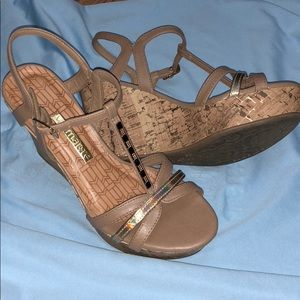 Brazilian Camel and Gold Wedge Sandals